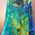 Szép enyészet , Ruha, divat, cipő, Női ruha, Felsőrész, póló, Festett tárgyak, Foltberakás, Zöld,kék, fáradt sárga színekkel keveredett, színes pamut pulóver. Lefelé enyhén bővülő  szabással ..., Meska