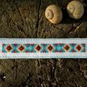 Indián motívumos könyvjelző, Naptár, képeslap, album, Könyvjelző, Ezt a vidám indián motívumos könyvjelzőt keresztszemes hímzéssel készítettem, melyet filc a..., Meska