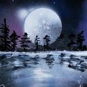 Moon, Képzőművészet, Festmény, Akril, Festészet, A4-es méretű akril spray technikával fotópapírra készített festmény, Meska