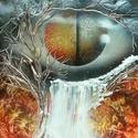 Snake eye, Képzőművészet, Festmény, Akril, Festészet, A3-as méretű akril spray technikával fotópapírra készített festmény, Meska