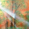 Őszi fény, Dekoráció, Kép, Festészet, A3-as méretű akril spray technikával fotópapírra készített festmény, Meska