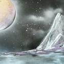 Ezüst hegy, Képzőművészet, Festmény, Akril, Festészet, A3-as méretű akril spray technikával fotópapírra készített festmény, Meska