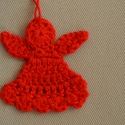 Horgolt piros angyalka  karácsonyfa dísz, Piros pamut fonalból horgoltam ezeket a kis angya...
