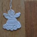 Horgolt fehér angyalka  karácsonyfa dísz, Fehér pamut fonalból horgoltam ezeket a kis angy...