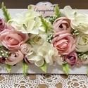 anyák napi Virágos falikeret, Otthon & Lakás, Dekoráció, Asztaldísz, Virágkötés, Selyemvirágokkal díszített fali vagy asztali dekoráció. Anyák napjára tökéletes választás lehet.  4..., Meska