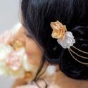 Rosegold alkalmi hajtű/hajdísz, Ruha & Divat, Hajdísz & Hajcsat, Hajcsat & Hajtű, Ékszerkészítés, Mindenmás, A hajdísz rosegold témájú esküvőre készült, de bármilyen elegánsabb alkalomra viselhető. Sötét hajb..., Meska