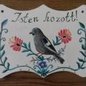 Isten hozott tábla, Otthon, lakberendezés, Képzőművészet, Dekoráció, Utcatábla, névtábla, Rétegelt falemezre felvitt virágos-madaras motívum.  , Meska