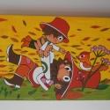 Gyerek fali táblakép, Baba-mama-gyerek, Dekoráció, Gyerekszoba, Baba falikép, Kézzel festett táblakép rétegelt lemezre.  Méretei: Szélesség: 45 cm. Magasság: 30 cm.  Környezetbar..., Meska