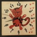 Falióra - macskás, Ékszer, Otthon, lakberendezés, Falióra, óra, Saját tervezésű falióra. Önálló grafikai tervezés és kivitelezés, beleértve a kivágást is. Téma: kéz..., Meska