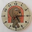 Vizslás falióra, Dekoráció, Otthon, lakberendezés, Falióra, óra, Falapra kézzel festett kutya motívum óraszerkezettel ellátva. Az óraszerkezet folyamatos járású csen..., Meska