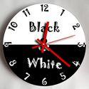 Falióra - fekete-fehér, Otthon, lakberendezés, Dekoráció, Ékszer, Falióra, óra, Saját tervezésű termék. Saját grafika és kivitelezés, beleértve a kivágást is. Téma: fekete- fehér  ..., Meska