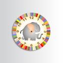 Falióra - elefántos, Otthon, lakberendezés, Dekoráció, Falióra, óra, Ez az aranyos kis ormányos szép dísze lehet a gyerekszobának.  - Saját tervezésű grafika -  Óraszerk..., Meska