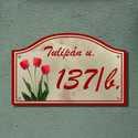 Házszámtábla, Otthon, lakberendezés, Dekoráció, Dísz, Utcatábla, névtábla, Díszes házszámtábla tulipános motívummal.   A házszámtábla anyaga időjárásálló (eső hó, fagy). Csava..., Meska
