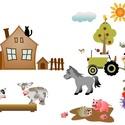 """Falmatrica - falusi, Dekoráció, Otthon, lakberendezés, Falmatrica, Falusi idill, falmatrica. A képen látható állatkák és egyéb ábrázolások jellemzői egy falusi """"látkép..., Meska"""