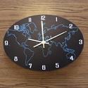 Világóra - falióra, Otthon, lakberendezés, Dekoráció, Falióra, óra, Világtérkép falióra. Speciális műanyag alapra készített világtérképes óra. Mérete: 30 x 21 cm, de na..., Meska