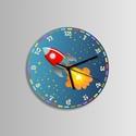 Űrhajós falióra, Ékszer, Dekoráció, Otthon, lakberendezés, Falióra, óra, Űrhajós falióra. Rakéta hasít az űrben.  Méret: 25 cm, de nagyobb kivitelben is kérhető.   Óraszerke..., Meska