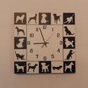 Kutyás falióra. , Otthon, lakberendezés, Falióra, óra, Kutyás falióra. Különféle fajtájú kutyusok vannak körbe elhelyezve az óralapon.   Az óralap mérete: ..., Meska