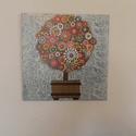 Táblakép - színes, pöttyös fa, Dekoráció, Képzőművészet, Kép, Festmény, Famegmunkálás, Festett tárgyak, A táblakép egy speciális technikával készült fát ábrázol. Pöttyöző technika aprólékos, precíz kivit..., Meska