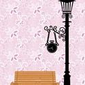 Falmatrica - lámpa és pad, Dekoráció, Otthon, lakberendezés, Falmatrica, Lámpaoszlop falmatrica.  A kép oldalai felcserélhetők, tehát létezik jobbos és balos verzió is.    Í..., Meska