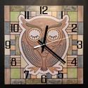 Baglyos óra, Dekoráció, Otthon, lakberendezés, Dísz, Falióra, óra, Speciális festési technikával készült falióra art deco stílusban.  Az óralap mérete: 25 x 25 cm.  Ór..., Meska