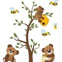 """Falmatrica - macis, Baba-mama-gyerek, Dekoráció, Képzőművészet, Illusztráció, A falmatricán aranyos macik """"utaznak"""" a mézre. Kétfajta változat kapható. Egy jobbos, illetve balos ..., Meska"""