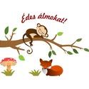 Kismajmos falmatrica, Mindenmás, Dekoráció, Falmatrica, Saját tervezésű grafika. Vinyl öntapadós rétegre nyomtatás. A falmatricán egy aranyos majmoc..., Meska