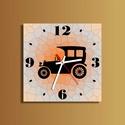 Autós falióra, Otthon, lakberendezés, Dekoráció, Falióra, óra, Dísz, Egyedi tervezésű falióra, melyen öreg autó látható  Méret: 25 x 25 cm, de más méretben is elkészülhe..., Meska