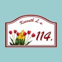 Házszámtábla - tulipános, Otthon, lakberendezés, Dekoráció, Utcatábla, névtábla, Dísz, Fotó, grafika, rajz, illusztráció, Mindenmás, Tulipáncsokorral díszített házszámtábla. Kérhető bármilyen másik virággal vagy az utca elnevezésére..., Meska