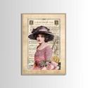 Táblakép - falikép - kalapos nő, Otthon, lakberendezés, Dekoráció, Falikép, Fotó, grafika, rajz, illusztráció, Mindenmás, Mdf  fára digitálisan nyomtatott kompozíció.  Kalapos nőt ábrázoló vintage portré a múlt század ele..., Meska