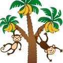 majmos falmatrica, Dekoráció, Kép, ezek az aranyos, fákon lógó-csimpaszkodó majmocskák szépen díszíthetik a gyerekszoba falát. Így kész..., Meska