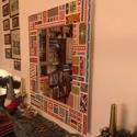 Falitükör - egyedi díszítéssel., Dekoráció, Otthon, lakberendezés, Képkeret, tükör, Falitükör egyedi díszítéssel. Saját tervezés és kivitelezés  Aprólékos munkával készített színes fal..., Meska