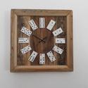 Vintage dominós falióra, Dekoráció, Otthon, lakberendezés, Dísz, Falióra, óra, Vintage dominós falióra bontott, fából. Saját terv alapján készült önálló kivitelezésben  A farész t..., Meska