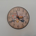 Baglyos falióra, Dekoráció, Otthon, lakberendezés, Falióra, óra, Baglyos falióra. Egyedi tervezés.  Az óra átmérője: 30 cm.  Az óra 5 mm-es speciális műanyag lapra v..., Meska