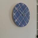 Kék kocka mintás falióra, Dekoráció, Falmatrica, Kék, kockás mintás falióra.  Óralap átmérője: 25 cm. Óraszerkezet folyamatos járású, csendes.   Kérh..., Meska