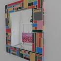 Falitükör - egyedi díszítéssel., Dekoráció, Otthon, lakberendezés, Képkeret, tükör, Falitükör egyedi  3D-s díszítéssel..  Aprólékos munkával készített színes falitükör.  Vidám, mosolyg..., Meska
