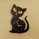 Macskás falióra, Otthon, lakberendezés, Falióra, óra, Macskás sziluett óralap csendes óraszerkezettel szerelve. Óraszerkezet: Folyamatos járású csendes. A..., Meska