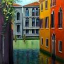 Velence, Képzőművészet, Festmény, Olajfestmény, Festészet, 50 x 40 cm. Olajfestmény feszített vásznon, keret nélkül., Meska