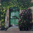 A régi ház bejárata, Képzőművészet, Festmény, Olajfestmény, Festészet, 50 x 50 centis olajfestmény feszített vásznon, keret nélkül., Meska