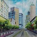 Metropolis, Képzőművészet, Festmény, Olajfestmény, Festészet, 50 x 70 centis olajfestmény vásznon, keret nélkül. Elég nagy méret, inkább a személyes átvételt rés..., Meska