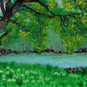 Sziklás part tavasszal, Képzőművészet, Festmény, Akril, Festészet, 35 x 62 centis akrilfestmény faroston lakkozva, keret nélkül., Meska