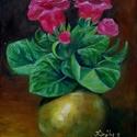 Gloxinia, Képzőművészet, Festmény, Olajfestmény, 30 x 25 centis olajfestmény feszített vásznon, keret nélkül. Egy szép cserepes virágot ábrázol rézka..., Meska