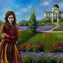 A birodalom örökösnője, Képzőművészet, Festmény, Olajfestmény, Nagyméretű, 50 x 70 centis olajfestmény feszített vásznon, keret nélkül. A képen egy fiatal hölgy lá..., Meska