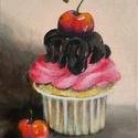 Cupcake, Képzőművészet, Festmény, Akril, 24 x 18 centis akrilfestmény feszített vásznon, lakkozva, keret nélkül. Kedves dísze lehet egy..., Meska