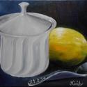 Teázunk? - olajfestmény, Képzőművészet, Festmény, Olajfestmény, 30 x 40 centis olajfestmény feszített vásznon, keret nélkül. Egy teázáshoz való előkészületet ábrázo..., Meska