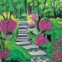 Virágzó tavaszi kert - akrilfestmény, Képzőművészet, Festmény, Akril, 36 x 41 centis akrilfestmény faroston, lakkozva, keret nélkül. Egy buja, dús növényzetű, pompás virá..., Meska