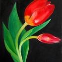 Piros tulipán - olajfestmény, Képzőművészet, Festmény, Olajfestmény, 24 x 18 centis olajfestmény kasírozott vásznon, keret nélkül. A tavasz egyik legszebb virága.  A pos..., Meska