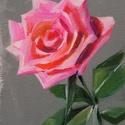Rózsaszál - akrilfestmény, Képzőművészet, Festmény, Akril, Kb. 15 x 10 centis akrilfestmény lakkozva, művészpapíron, keret nélkül. Ha valakinek kis falfelülete..., Meska