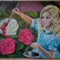 Alice Csodaországban - akció, Képzőművészet, Festmény, Olajfestmény, Nagyméretű, 50 x 70 centis olajfestmény feszített vásznon, keret nélkül. Gyerekszobába javaslom.  Pá..., Meska