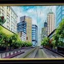Metropolis - akció, Képzőművészet, Festmény, Olajfestmény, Nagyméretű, 50 x 70 centis olajfestmény feszített vásznon, keret nélkül. Egy amerikai nagyvárost ábr..., Meska