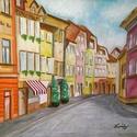 Ljubljana - olajfestmény, Képzőművészet, Festmény, Olajfestmény, 40 x 50 centis olajfestmény faroston, keret nélkül. Egy  csendes, kihalt utcát ábrázol egy nyári nap..., Meska
